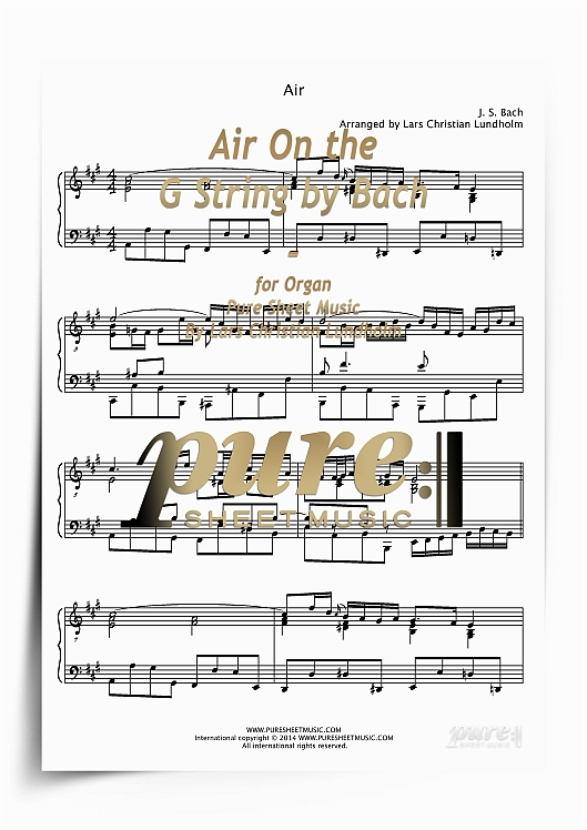 Air On the G String by Bach for Organ (PDF file), Pure Sheet Music arranged  by Lars Christian Lundholm