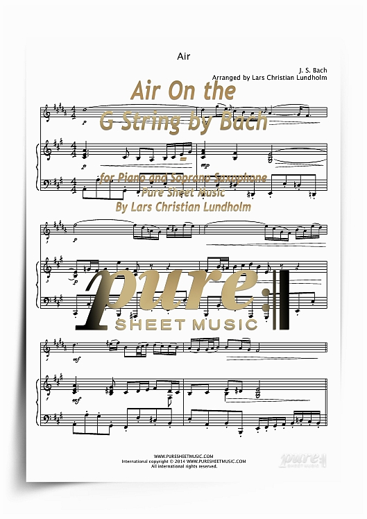 Pay for Air On the G String by Bach for Piano and Soprano Saxophone (PDF file), Pure Sheet Music arranged by Lars Christian Lundholm