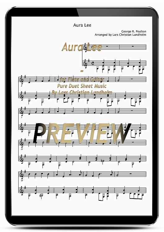 Pay for Aura Lee for Flute and Guitar (EPUB file), Pure Sheet Music as Ebook arranged by Lars Christian Lundholm