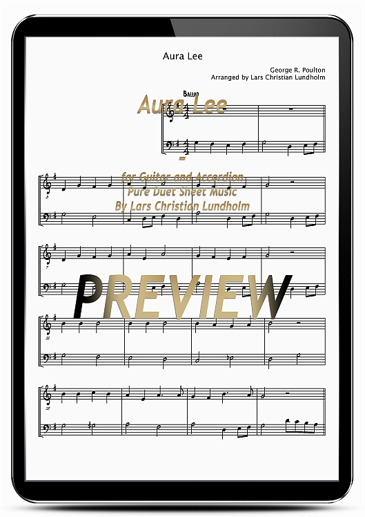 Pay for Aura Lee for Guitar and Accordion (EPUB file), Pure Sheet Music as Ebook arranged by Lars Christian Lundholm