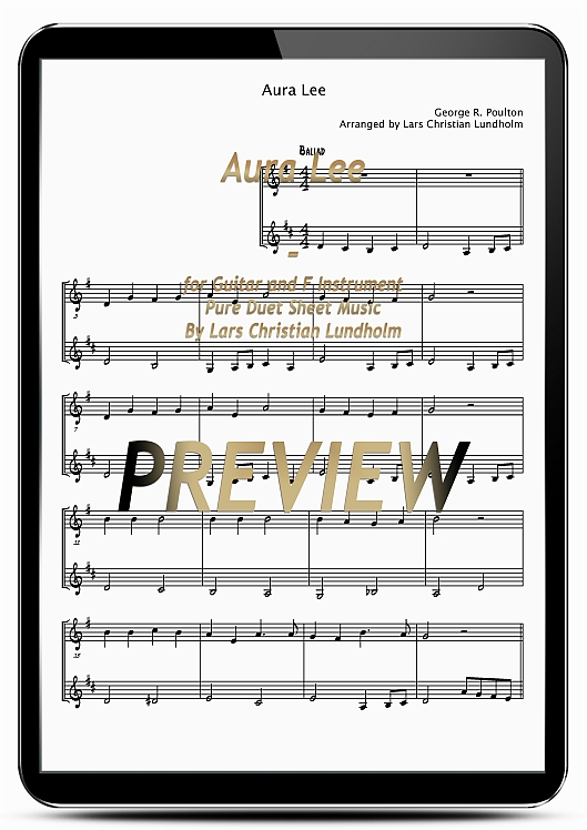 Pay for Aura Lee for Guitar and F Instrument (EPUB file), Pure Sheet Music as Ebook arranged by Lars Christian Lundholm