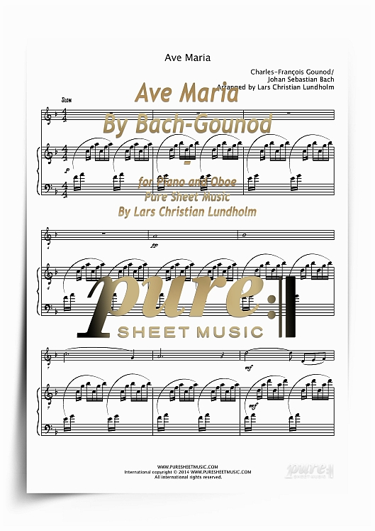 Pay for Ave Maria By Bach-Gounod for Piano and Oboe (PDF file), Pure Sheet Music arranged by Lars Christian Lundholm