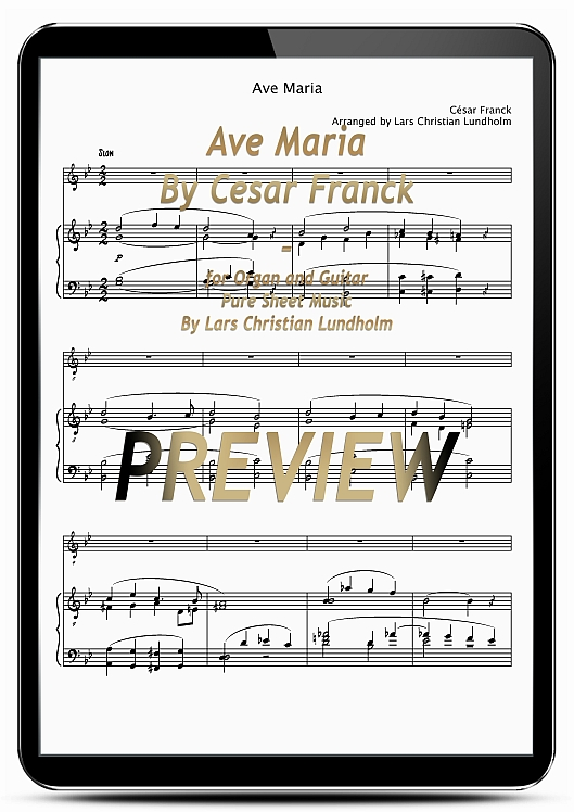 Pay for Ave Maria By Cesar Franck for Organ and Guitar (EPUB file), Pure Sheet Music as Ebook arranged by Lars Christian Lundholm