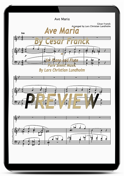 Pay for Ave Maria By Cesar Franck for Piano and Flute (EPUB file), Pure Sheet Music as Ebook arranged by Lars Christian Lundholm