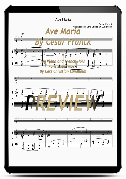 Pay for Ave Maria By Cesar Franck for Piano and French Horn (EPUB file), Pure Sheet Music as Ebook arranged by Lars Christian Lundholm