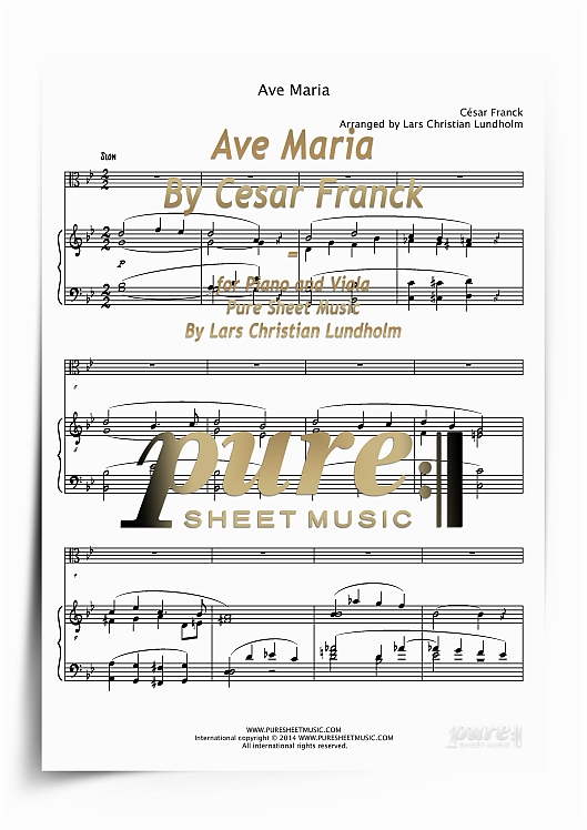 Pay for Ave Maria By Cesar Franck for Piano and Viola (PDF file), Pure Sheet Music arranged by Lars Christian Lundholm
