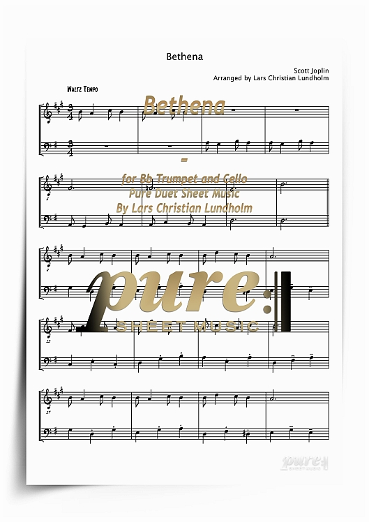 Bethena for Bb Trumpet and Cello (PDF file), Pure Sheet Music arranged by  Lars Christian Lundholm