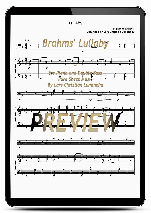 Pay for Brahms' Lullaby for Piano and Double Bass (EPUB file), Pure Sheet Music as Ebook arranged by Lars Christian Lundholm