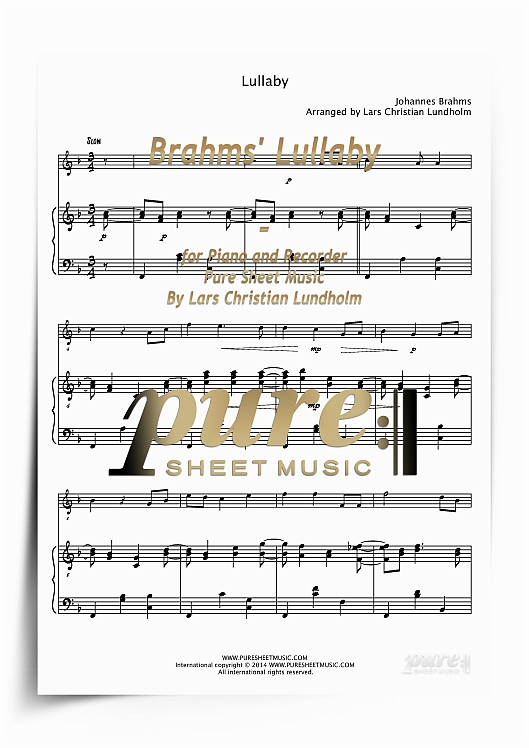 Pay for Brahms' Lullaby for Piano and Recorder (PDF file), Pure Sheet Music arranged by Lars Christian Lundholm