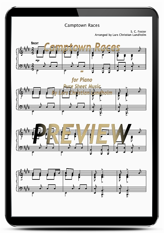 Pay for Camptown Races for Piano (EPUB file), Pure Sheet Music as Ebook arranged by Lars Christian Lundholm