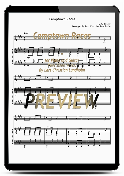 Pay for Camptown Races for Piano and Guitar (EPUB file), Pure Sheet Music as Ebook arranged by Lars Christian Lundholm