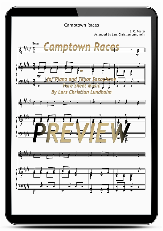 Pay for Camptown Races for Piano and Tenor Saxophone (EPUB file), Pure Sheet Music as Ebook arranged by Lars Christian Lundholm