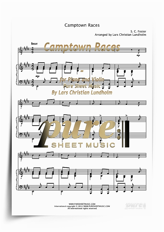 Pay for Camptown Races for Piano and Violin (PDF file), Pure Sheet Music arranged by Lars Christian Lundholm