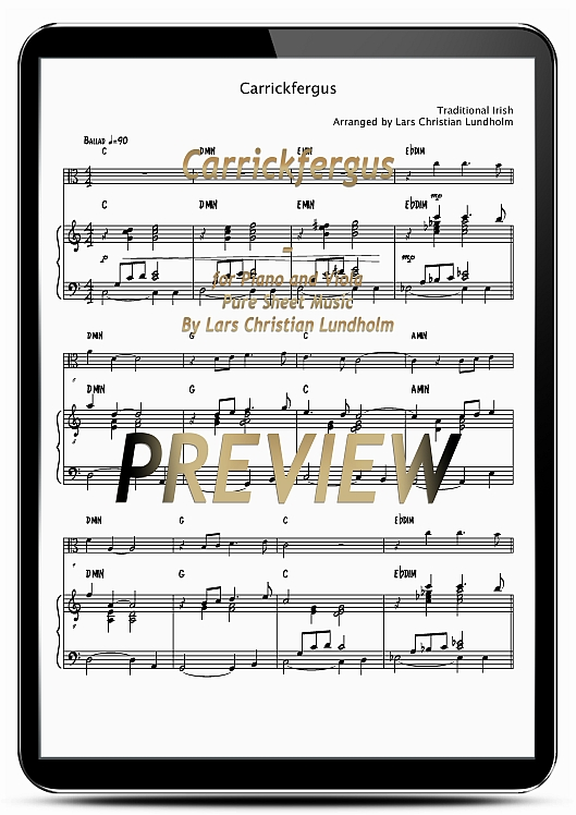 Pay for Carrickfergus for Piano and Viola (EPUB file), Pure Sheet Music as Ebook arranged by Lars Christian Lundholm