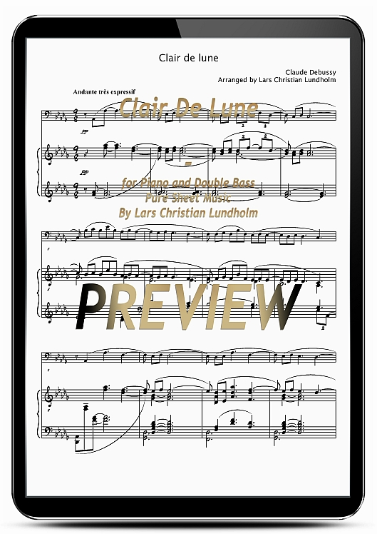 Pay for Clair De Lune for Piano and Double Bass (EPUB file), Pure Sheet Music as Ebook arranged by Lars Christian Lundholm