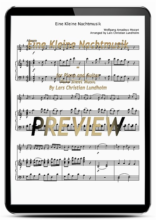 Pay for Eine Kleine Nachtmusik for Piano and Guitar (EPUB file), Pure Sheet Music as Ebook arranged by Lars Christian Lundholm