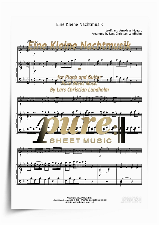 Pay for Eine Kleine Nachtmusik for Piano and Guitar (PDF file), Pure Sheet Music arranged by Lars Christian Lundholm