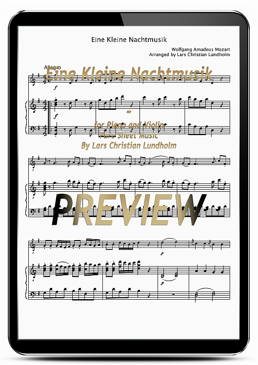 Pay for Eine Kleine Nachtmusik for Piano and Violin (EPUB file), Pure Sheet Music as Ebook arranged by Lars Christian Lundholm
