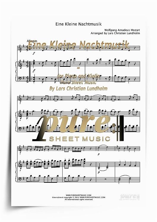 Pay for Eine Kleine Nachtmusik for Piano and Violin (PDF file), Pure Sheet Music arranged by Lars Christian Lundholm
