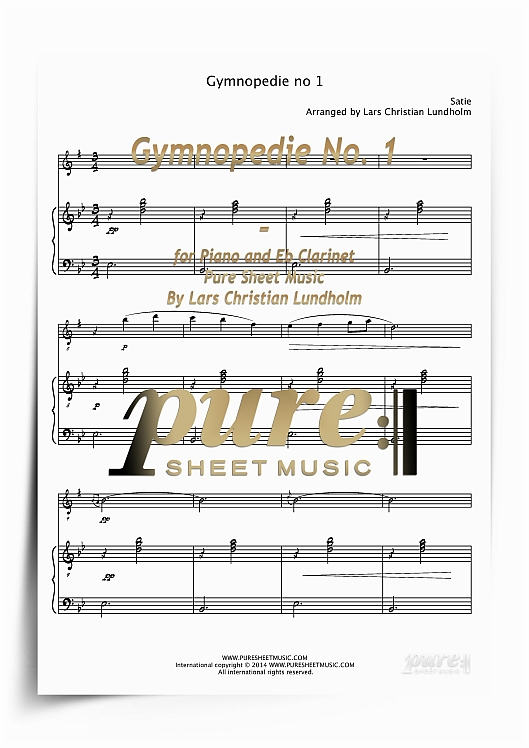 Pay for Gymnopedie No. 1 for Piano and Eb Clarinet (PDF file), Pure Sheet Music arranged by Lars Christian Lundholm