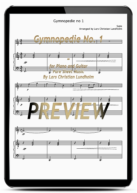 Pay for Gymnopedie No. 1 for Piano and Guitar (EPUB file), Pure Sheet Music as Ebook arranged by Lars Christian Lundholm