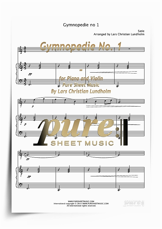 Pay for Gymnopedie No. 1 for Piano and Violin (PDF file), Pure Sheet Music arranged by Lars Christian Lundholm