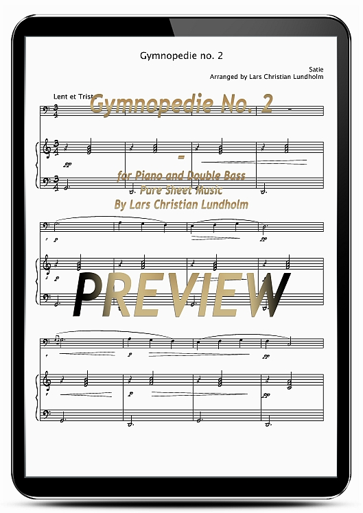Pay for Gymnopedie No. 2 for Piano and Double Bass (EPUB file), Pure Sheet Music as Ebook arranged by Lars Christian Lundholm