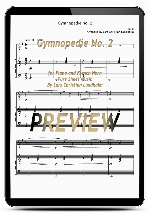 Pay for Gymnopedie No. 2 for Piano and French Horn (EPUB file), Pure Sheet Music as Ebook arranged by Lars Christian Lundholm