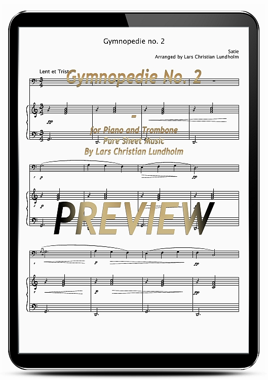 Pay for Gymnopedie No. 2 for Piano and Trombone (EPUB file), Pure Sheet Music as Ebook arranged by Lars Christian Lundholm