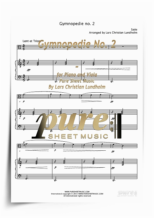 Pay for Gymnopedie No. 2 for Piano and Viola (PDF file), Pure Sheet Music arranged by Lars Christian Lundholm