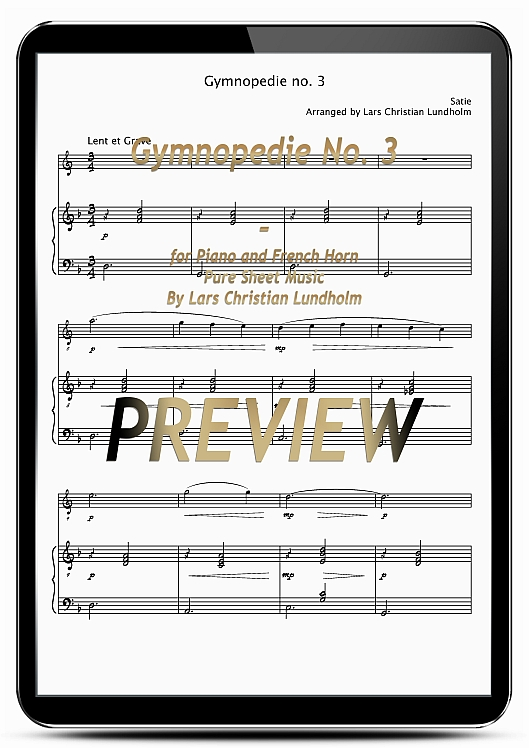 Pay for Gymnopedie No. 3 for Piano and French Horn (EPUB file), Pure Sheet Music as Ebook arranged by Lars Christian Lundholm