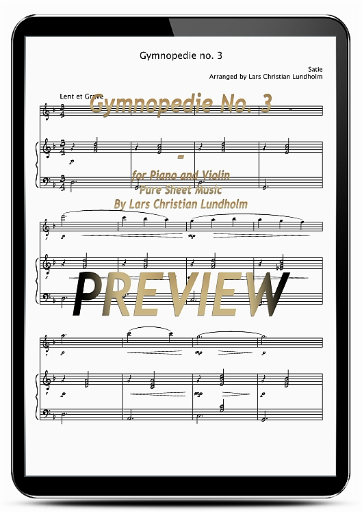 Pay for Gymnopedie No. 3 for Piano and Violin (EPUB file), Pure Sheet Music as Ebook arranged by Lars Christian Lundholm