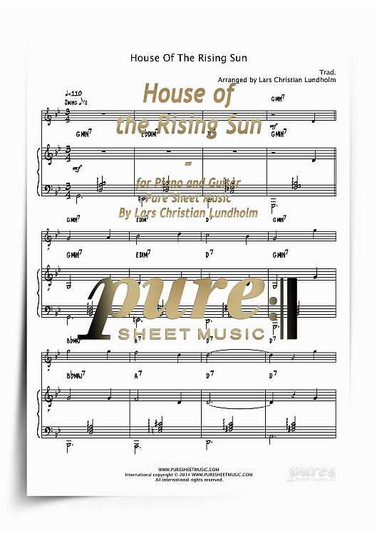 House Of The Rising Sun For Piano And Guitar Pdf File Pure Sheet Music Arranged By Lars Christian Lundholm Tradebit,Bedroom Wall Decals Quotes