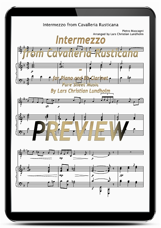 Pay for Intermezzo from Cavalleria Rusticana for Piano and Bb Clarinet (EPUB file), Pure Sheet Music as Ebook arranged by Lars Christian Lundholm