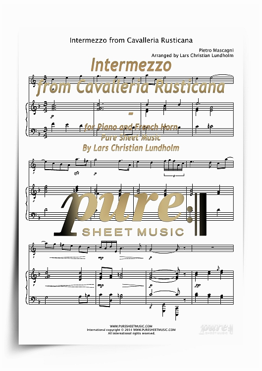 Pay for Intermezzo from Cavalleria Rusticana for Piano and French Horn (PDF file), Pure Sheet Music arranged by Lars Christian Lundholm