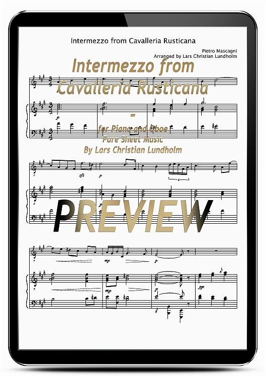 Pay for Intermezzo from Cavalleria Rusticana for Piano and Oboe (EPUB file), Pure Sheet Music as Ebook arranged by Lars Christian Lundholm