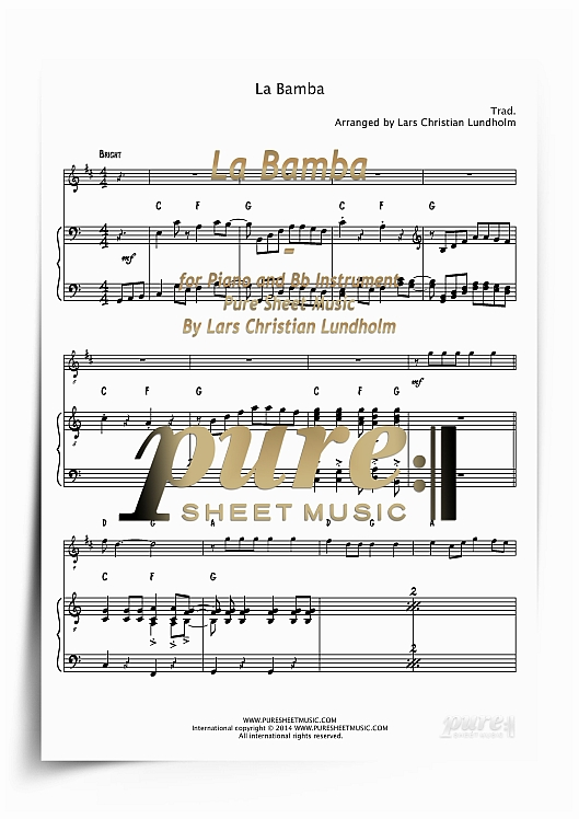 Pay for La Bamba for Piano and Bb Instrument (PDF file), Pure Sheet Music arranged by Lars Christian Lundholm