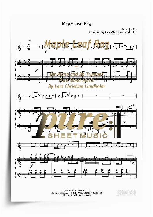 Pay for Maple Leaf Rag for Piano and Bb Trumpet (PDF file), Pure Sheet Music arranged by Lars Christian Lundholm