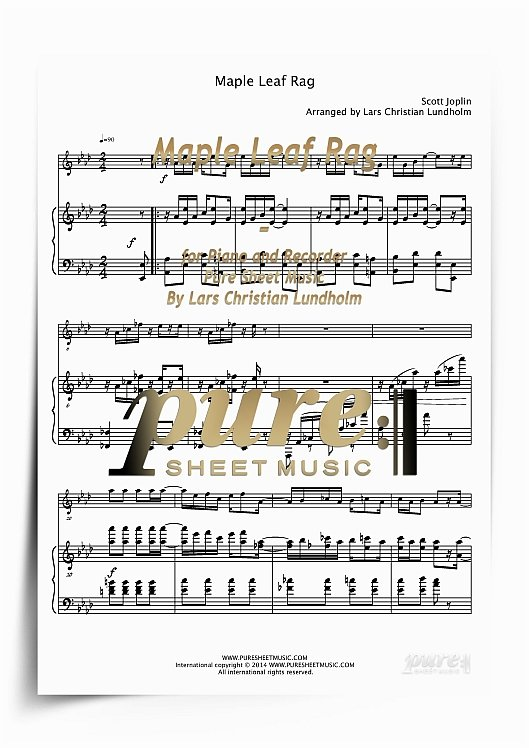 Pay for Maple Leaf Rag for Piano and Recorder (PDF file), Pure Sheet Music arranged by Lars Christian Lundholm