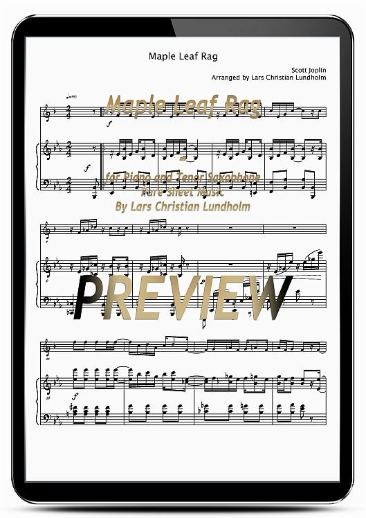 Pay for Maple Leaf Rag for Piano and Tenor Saxophone (EPUB file), Pure Sheet Music as Ebook arranged by Lars Christian Lundholm