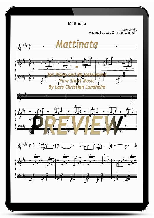 Pay for Mattinata for Piano and Bb Instrument (EPUB file), Pure Sheet Music as Ebook arranged by Lars Christian Lundholm