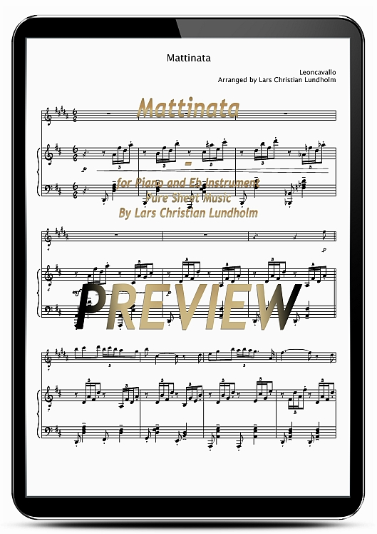 Pay for Mattinata for Piano and Eb Instrument (EPUB file), Pure Sheet Music as Ebook arranged by Lars Christian Lundholm