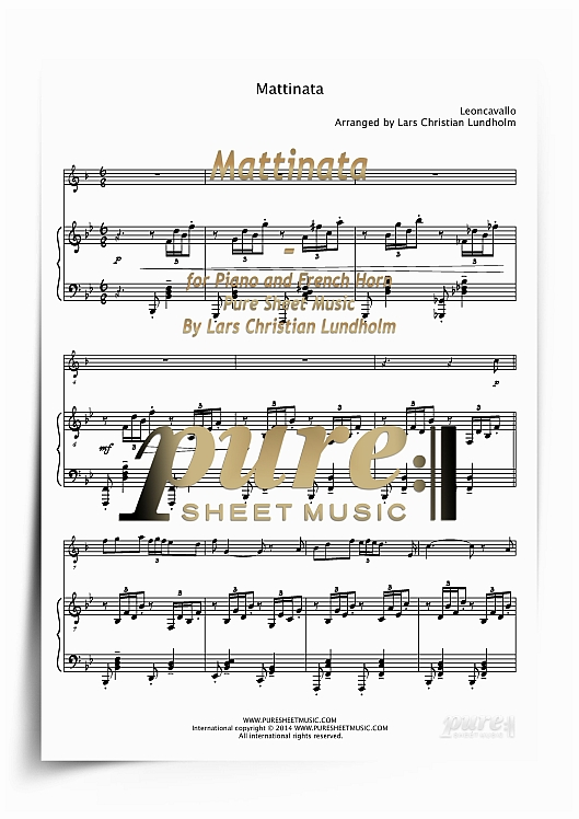 Pay for Mattinata for Piano and French Horn (PDF file), Pure Sheet Music arranged by Lars Christian Lundholm