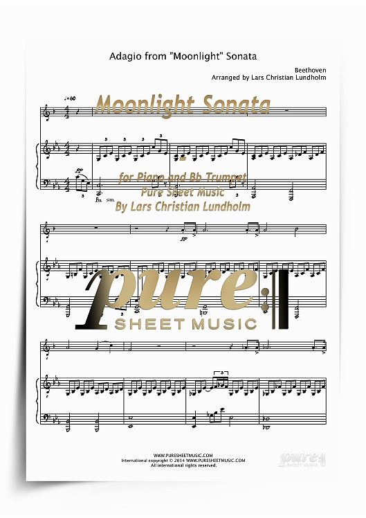 Moonlight Sonata for Piano and Bb Trumpet (PDF file), Pure Sheet Music  arranged by Lars Christian Lundholm