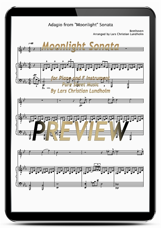 Pay for Moonlight Sonata for Piano and F Instrument (EPUB file), Pure Sheet Music as Ebook arranged by Lars Christian Lundholm