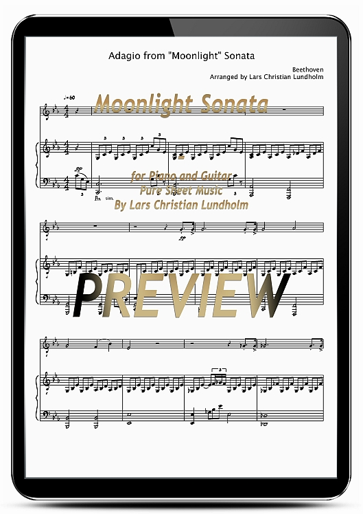 Pay for Moonlight Sonata for Piano and Guitar (EPUB file), Pure Sheet Music as Ebook arranged by Lars Christian Lundholm