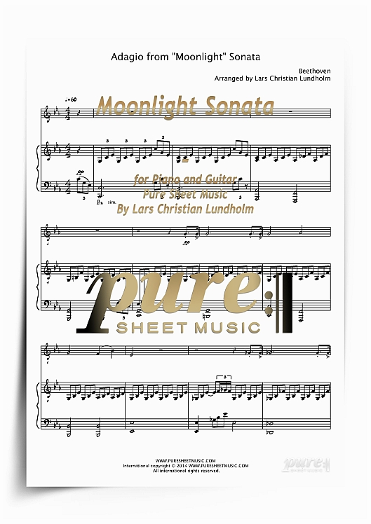 Pay for Moonlight Sonata for Piano and Guitar (PDF file), Pure Sheet Music arranged by Lars Christian Lundholm