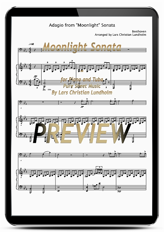 Pay for Moonlight Sonata for Piano and Tuba (EPUB file), Pure Sheet Music as Ebook arranged by Lars Christian Lundholm