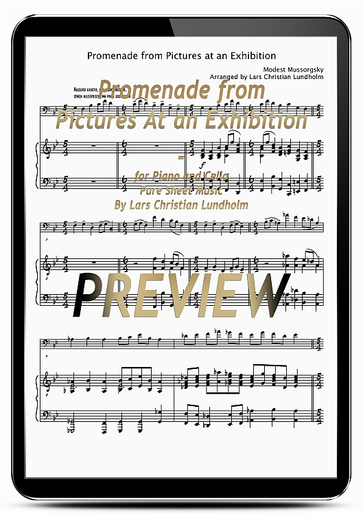 Pay for Promenade from Pictures At an Exhibition for Piano and Cello (EPUB file), Pure Sheet Music as Ebook arranged by Lars Christian Lundholm