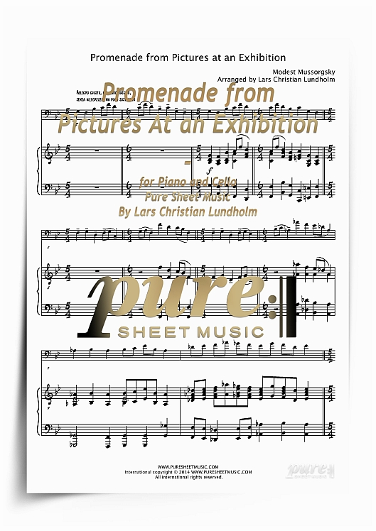 Pay for Promenade from Pictures At an Exhibition for Piano and Cello (PDF file), Pure Sheet Music arranged by Lars Christian Lundholm